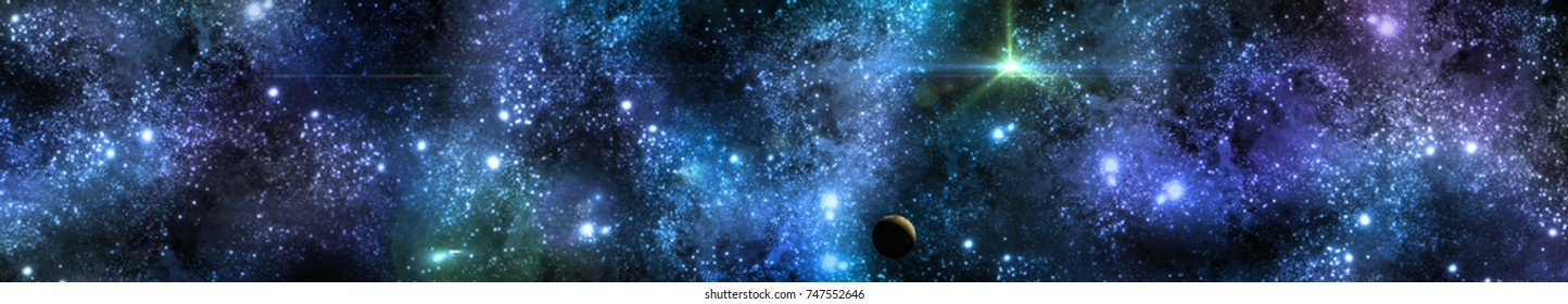 panorama of stars, banner, 3D rendering