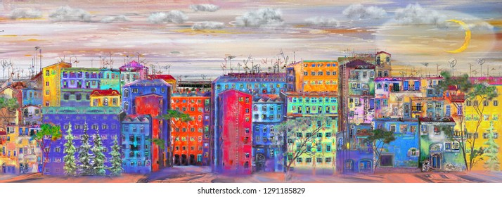 Panorama of steer with colorful houses. Oil painting cityscape.