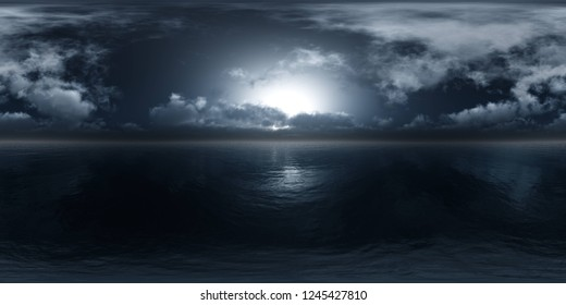 panorama of a stormy sea, HDRI, environment map , Round panorama, spherical panorama, equidistant projection, 360 high resolution panorama  3d rendering,
