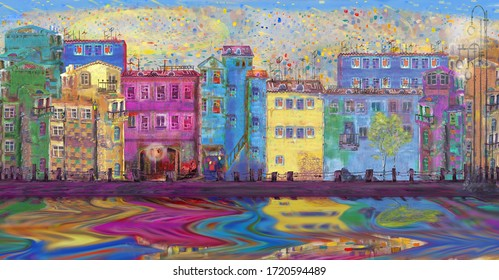 Panorama of the street after summer rain against a mosaic abstract sky. Oil painting.
