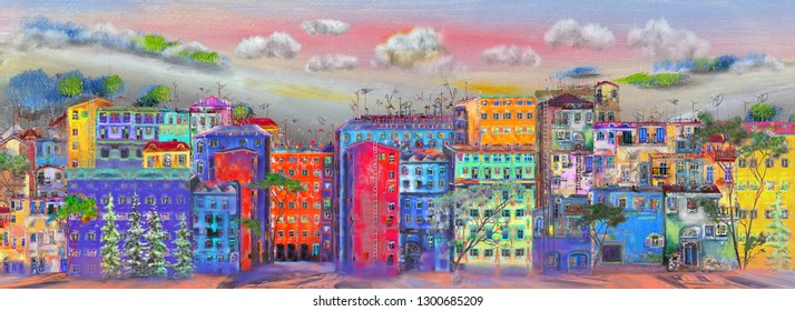 Panorama of the street with colorful homes. Oil painting cityscape.