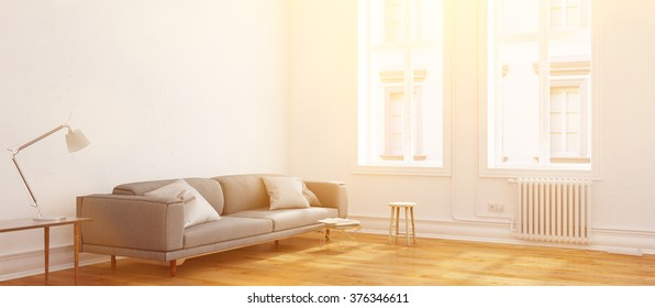 Panorama of a sunny living room in summer (3D Rendering)