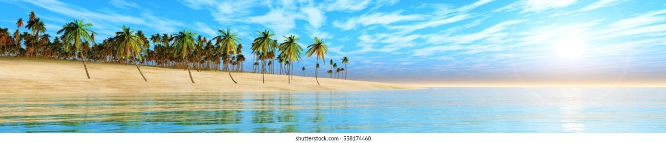 Panorama of tropical beach with lots of palm trees, sunset on the coast, 3d rendering.