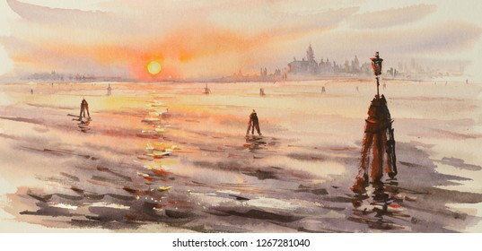 Panorama of venice laguna at sunset. Picture created with watercolors.