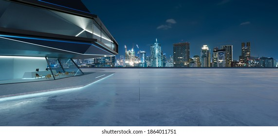 Panorama view of empty cement floor with steel and glass modern building exterior.  Night scene. Photorealistic 3D rendering.