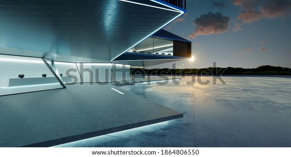 Panorama view of empty cement floor with steel and glass modern building exterior.  Sunset scene. Photorealistic 3D rendering.