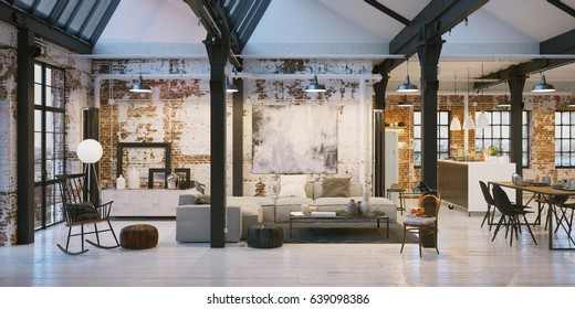 panorama view inside old vintage Loft apartment - 3d rendering