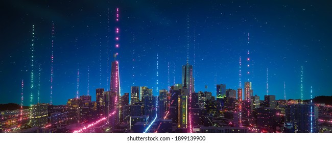 Panorama view of Smart city with particle glowing light connection design, big data connection technology concept. 3d rendering