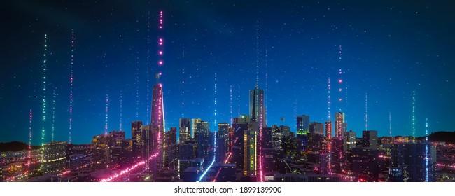 Panoramasicht auf Smart Stadt mit Partikelleuchten Lichtanschluss Design, Big Data Connection Technologie Konzept. 3D-Rendering