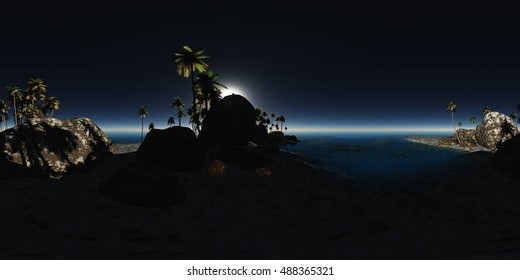 panoramia of tropical beach at night. made with one 360 degree lense. ready for virtual reality. 3D illustration