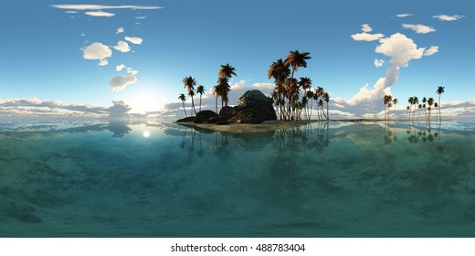 panoramia of tropical island with palms in ocean. made with one 360 degree lense. ready for virtual reality. 3D illustration