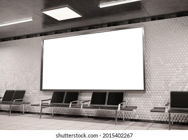 Panoramic 2:1 billboard on underground subway wall Mockup. Hoarding advertising on train station wall 3D rendering