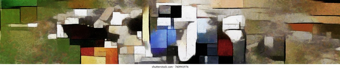 Panoramic abstraction in the style of cubism. Designed in a modern style oil on canvas with elements of pastel painting. A herd of horses in the dust. In explanation of Piet Mondrian and Picasso.