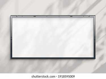 Panoramic billboard hanging on a sunlit concrete wall mockup. Template of a pano frame bathed in sunlight 3D rendering