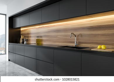 Panoramic black and wooden kitchen interior with dark gray countertops. 3d rendering mock up close up