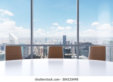 Panoramic conference room in modern office, New York city view from the windows. Close-up of the brown chairs and a white round table. 3D rendering.