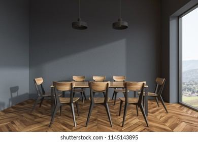 Panoramic dining room interior with gray walls, a wooden floor, and a wooden table with chairs. 3d rendering mock up
