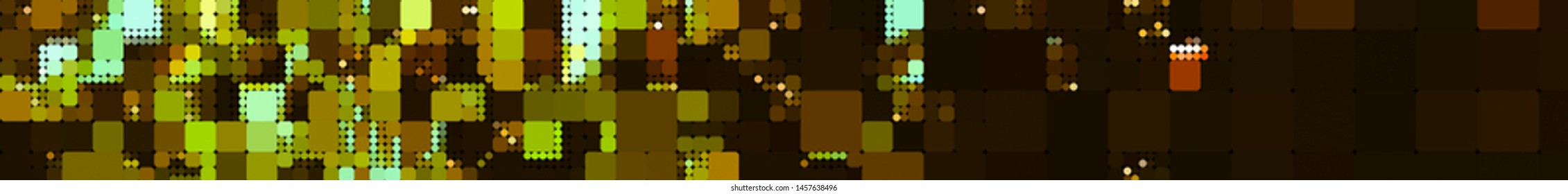 Panoramic golden background texture with mosaic. Geometric mosaic design. Abstract color trendy background. Mosaic texture with geometric shapes.