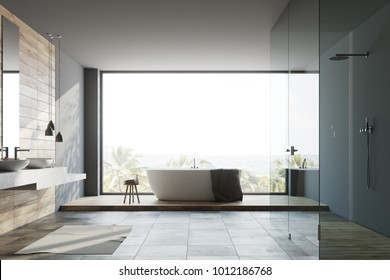 Panoramic gray bathroom interior interior with a white floor, a white tub, a shower stall and a double sink. 3d rendering mock up