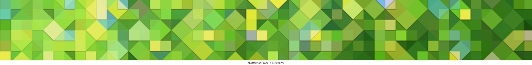 Panoramic green background texture with mosaic. Geometric mosaic design. Abstract color trendy background. Mosaic texture with geometric shapes.