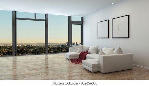 Panoramic High Rise Apartment Interior with View of Sprawling City - Living Room in Luxury Contemporary Condo with White Sectional Sofa, Red Throw Blanket, and Stunning View. 3d Rendering.