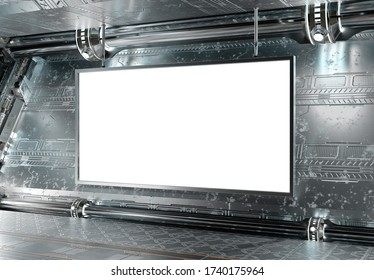 Panoramic horizontal billboard in futuristic underground Mockup. 2:1 aspect ratio hoarding in spaceship interior with metallic panels and modern lights. 3D rendering