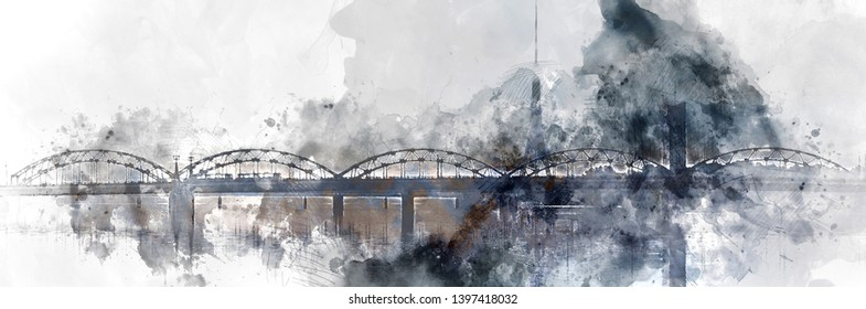 Panoramic image digitally generated image watercolor painting grey white color of Railway bridge over the Daugava river. Riga, Northern Europe, Baltic States, Latvia