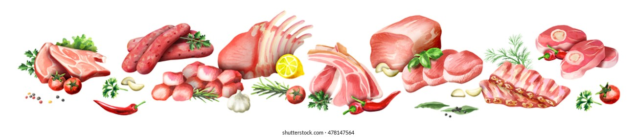 Panoramic image of raw meat on a white background. Watercolor