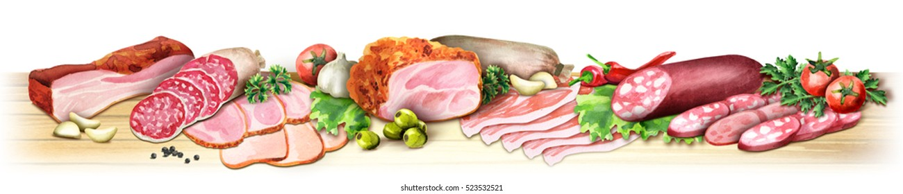 Panoramic image of smoked meat and sausages on a white background. Can be used for kitchen skinali. Watercolor
