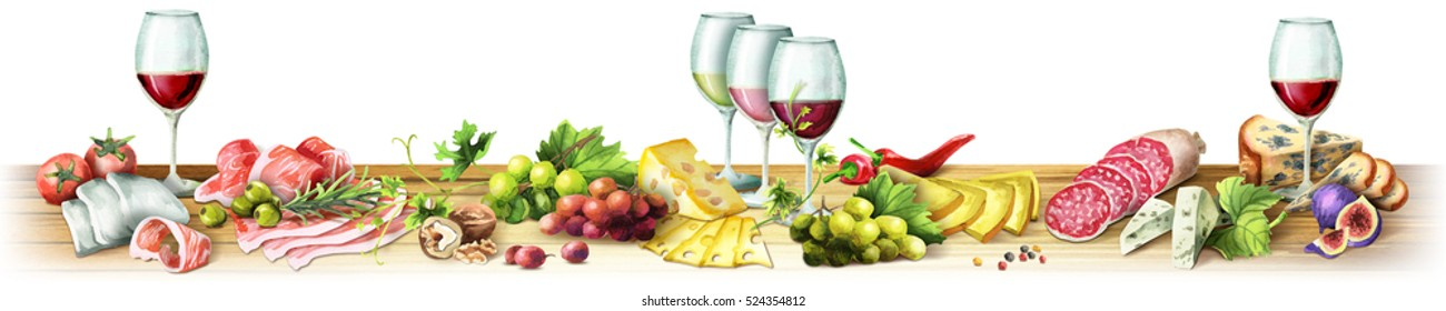 Panoramic image of smoked meat, sausages, cheese and wine on a white background. Can be used for kitchen skinali. Watercolor