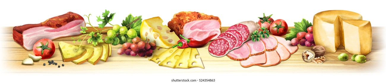 Panoramic image of smoked meat, sausages and cheese on a white background. Can be used for kitchen skinali. Watercolor