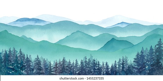 Panoramic landscape watercolor landscape with misty mountains and coniferous forest