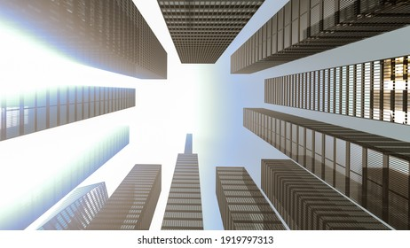 Panoramic and perspective view to steel light blue background of glass high rise building skyscraper city of future. Business concept of industry tech architecture. 3d rendering. 3d illustration