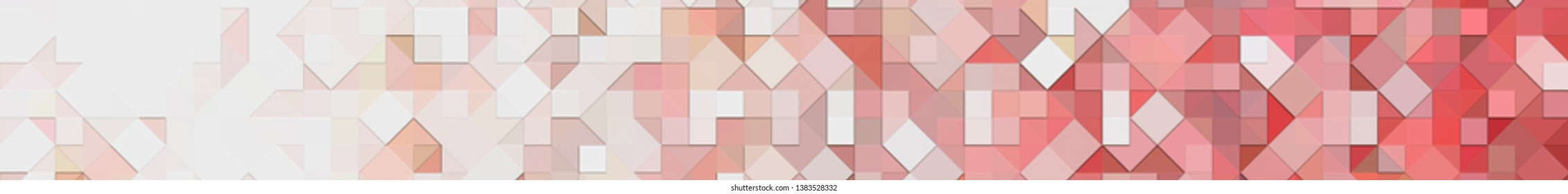 Panoramic red background texture with mosaic. Geometric mosaic design. Abstract color trendy background. Mosaic texture with geometric shapes.