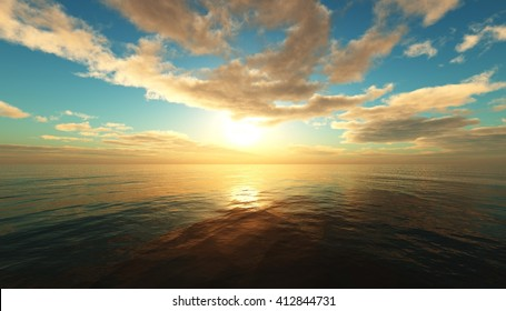 Panoramic sea sunset, ocean sunrise, the light above the water, 3D rendering.