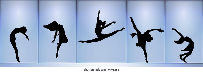 panoramic silhouette of five dancers