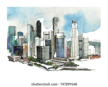Panoramic Singapore city watercolor sketch. Skyline silhouette of the city. Hand draw with architecture. Colorful illustration of the business town for postcards, t-shirts,