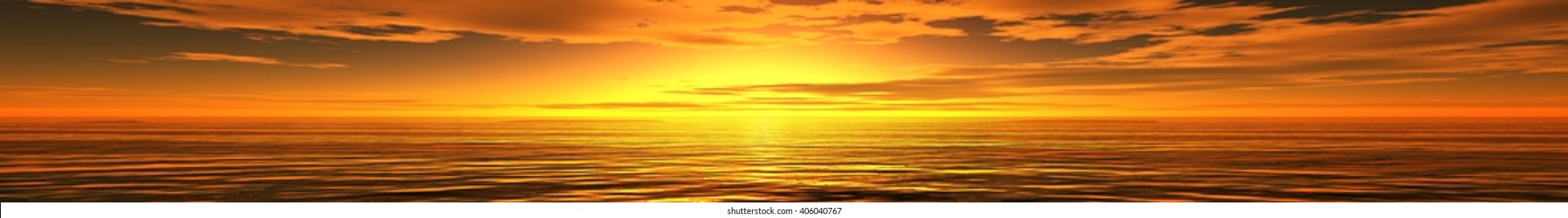 panoramic sunset sea landscape, ocean sunrise, the light in the sky over the sea, the sun over the water, 3D rendering