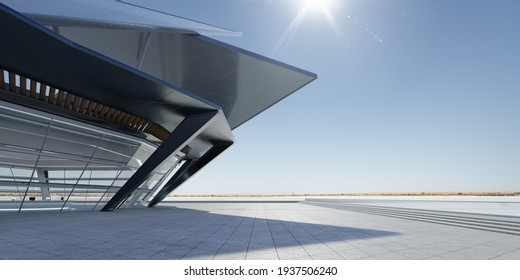 Panoramic view of empty concrete triangle shape floor with steel and glass modern building exterior.  Noon scene. Photorealistic 3D rendering.