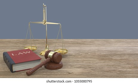 Panoramic view of Gavel hammer on sound block, Law book and a Scale of justice. Wooden desk. 3D render.