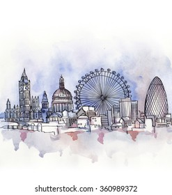 The panoramic view of London watercolor of European union isolated on the white background