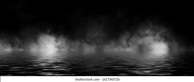 Panoramic view mystic smoke on the floor. Paranormal fog isolated on black background. Stock illustration. Reflection on water.