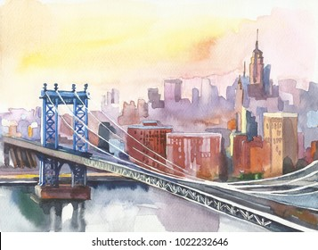 Panoramic view of New York and Manhattan Bridge . watercolor colorful  image with skyscrapers. tourism and travel.