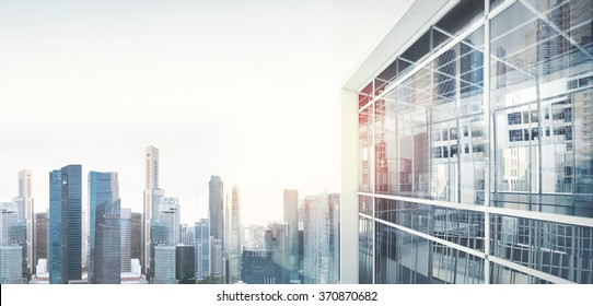 Panoramic view on the city of skyscrapers. Visual effects, wide
