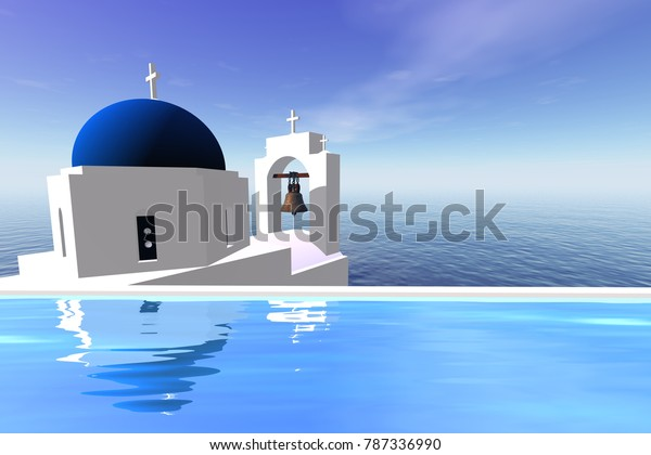 Panoramic view over the sea, 3D rendering, the absolute combination of white and blue.