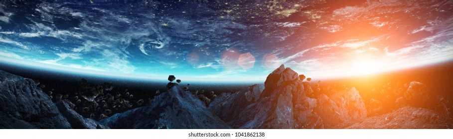 Panoramic view of planet Earth with asteroids flying close in space 3D rendering elements of this image furnished by NASA