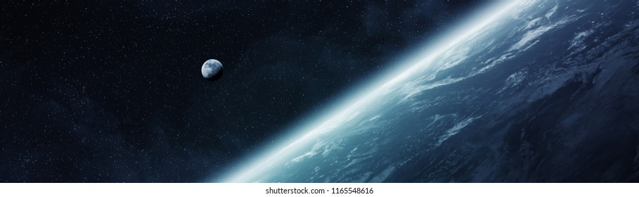 Panoramic view of planet Earth with the moon in space 3D rendering elements of this image furnished by NASA