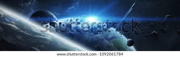 Панорамный вид планет в отдаленной солнечной системе в пространстве 3D рендеринг элементов этого изображения, предоставленный НАСА
