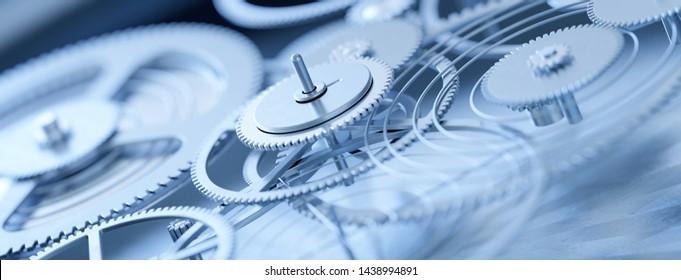 Panoramic view of precision mechanics clockwork gears