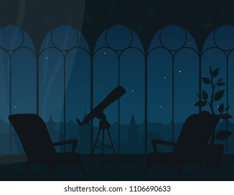 Panoramic view from room through arched windows to night starry sky of town. Illustration of interior with two armchairs, telescope and city landscape. Astronomical observation. Scene for your design.
